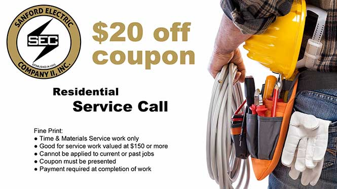 Sanford Electric residential service call coupon